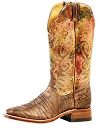 Boulet Western Boots Womens Extralight Floral Leather Rio Brown 4750