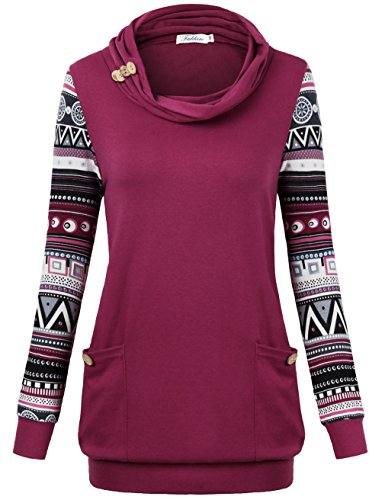Sweater Comfy Hooded (Faddare Sweatshirts For Women With Pockets, Tunics For Women Banded Bottom With Pockets Knitted Sweatshirts Blouses Patchwork Long Sleeve Top,Red L)