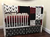 Nursery Bedding,1 - 5 piece Bumperless Baby Crib Bedding Set Adrian - Deer Crib Bedding with Black Arrows and Red & Black Buffalo Plaid, Crib Rail Guard Cover - Choose Your Pieces