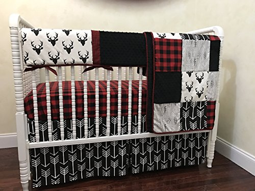 Nursery Bedding,1 - 5 piece Bumperless Baby Crib Bedding Set Adrian - Deer Crib Bedding with Black Arrows and Red & Black Buffalo Plaid, Crib Rail Guard Cover - Choose Your Pieces by Just Baby Designs Inc