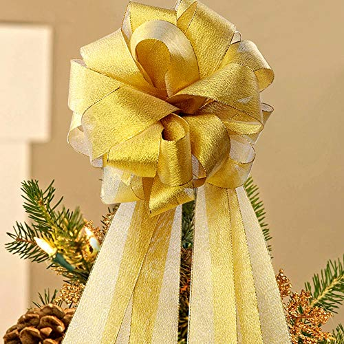 (Aytai Christmas Tree Bow Topper DIY Christmas Bows Large with Streamer4 Gold Edge, Gold Velvet Ribbon for Christmas Tree Decoration)