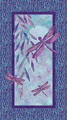 Artisan Spirit Shimmer Dragonfly Moon Fabric Panel by Jill McCloy from Northcott 22559M 85 Purple 24