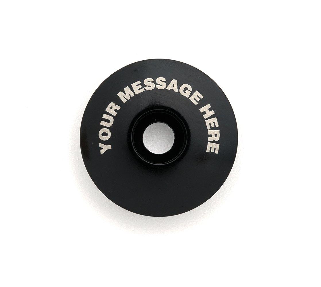 KustomCaps Customizable ''Your Message Here'' 1 1/8'' Bicycle Headset Cap Black
