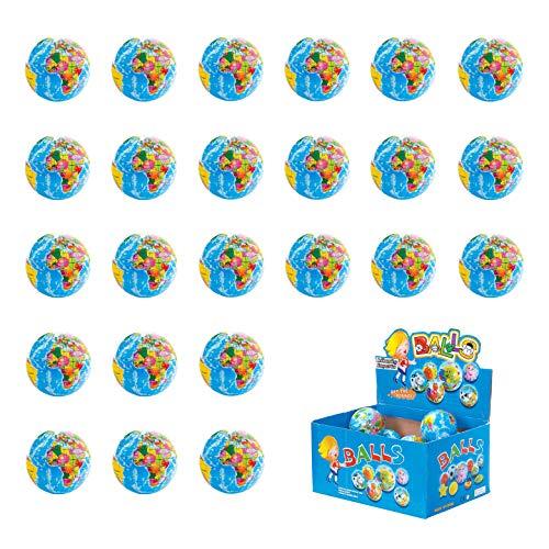 Liberty Imports 24 Pack - Mini Globe Planet Earth Soft Foam Stress Ball Toy Bulk Educational Novelties for Kids, School, Classroom, Party Favors - (2.5