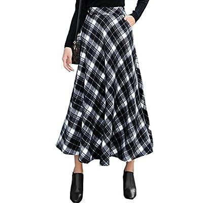 Women's Wool Blended High Waist A-line Flared Long Skirt Winter Plaid