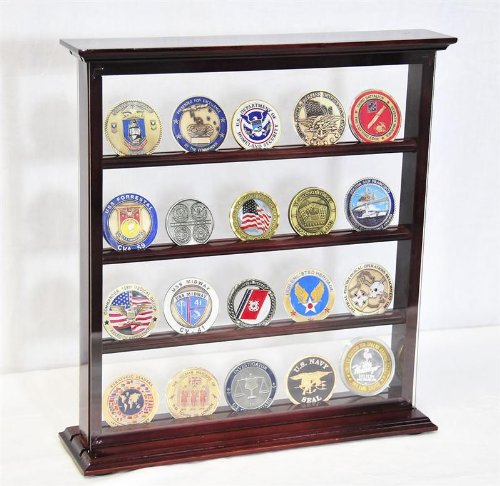 4 Shelves Military Challenge Coin Curio Stand Rack w/ UV Protection Viewing from both side, Cherry by sfDisplay