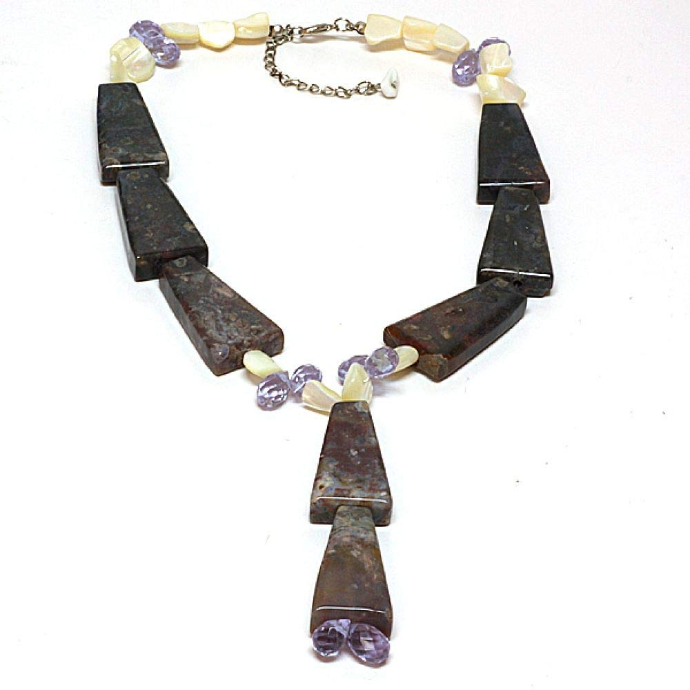 Gem Stone King Stunning Cultured Freshwater Pearl /& Gemstones Necklace 16 /& Extension CC-NC011