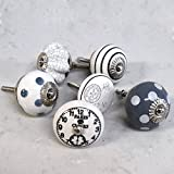 Set of 6 ceramic grey white vintage shabby chic clocks spotted striped cupboard cabinet door knobs by Pushka Home