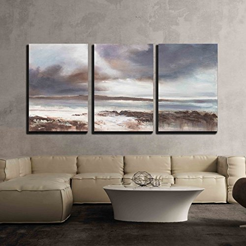 Original Oil Painting Stormy Beach Seascape x3 Panels