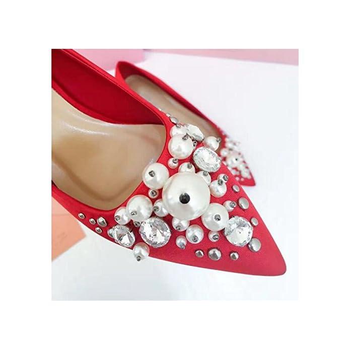 Xue Qiqi Scarpette Scarpe Da Sposa Femminile Rosso A Punta Tacchi Alti 5cm Con Strass Bocca Superficiale Donna