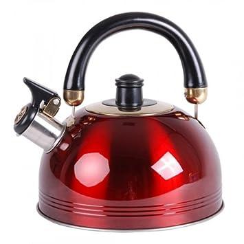 Wasserkessel Wasserkocher Aluminium 1,2L rot Kessel Pfeifkessel Flötenkessel