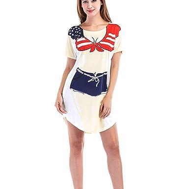 ❤Fuibo Damen Kleid, Frauen Kurzarm Cute Bikini Print Baggy Kleid Fun Wear  Cover Up 61d7445815