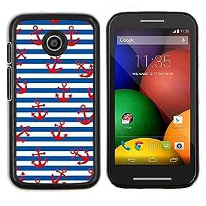 Blanco Rojo Líneas marinero Ancla- Metal de aluminio y de plástico duro Caja del teléfono - Negro - Motorola Moto E / XT1021 / XT1022