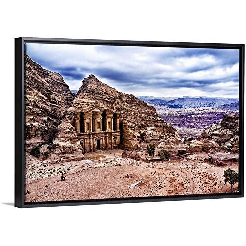 Floating Frame Premium Canvas with Black Frame Wall Art Print Entitled Ad Deir, Monastery of Petra, Jordan ()