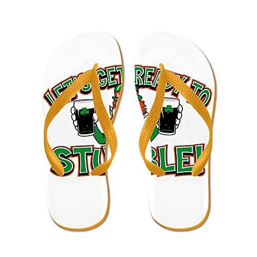 Royal Lion Kid's Ready To Stumble Irish Shamrocks Orange Rubber Flip Flops Sandals 4.5-7 ()
