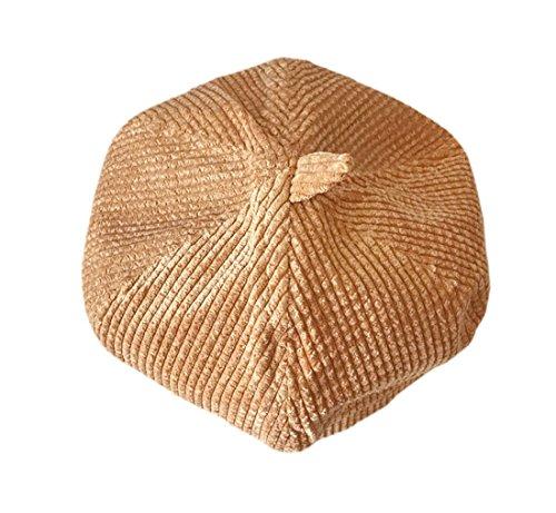 ACVIP Women's Cotton Corduroy Hexogan Newsboy Beret Cap (Khaki)