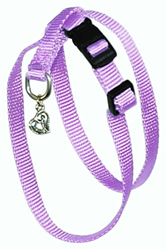 Hamilton B Chea MDLV 3/8-Inch Adjustable Figure 8 Pup-Cat Harness with Brushed Hardware Ring and Charm, Medium, Lavender