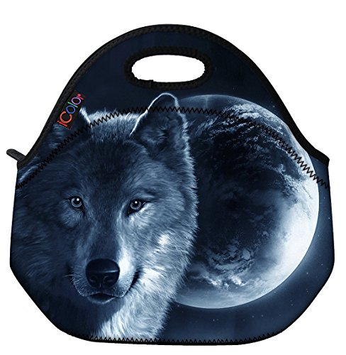 Boy Lunch - ICOLOR Cool Wolf Boys Insulated Neoprene Lunch Bag Tote Handbag lunchbox Food Container Gourmet Tote Cooler warm Pouch For School work Office