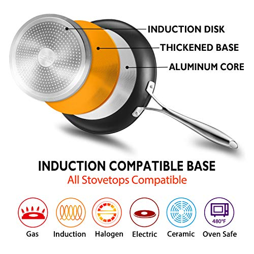 COOKER KING 8 Pieces Nonstick Cookware Set, Pots and Pans with Induction Base, Dishwasher Safe, Oven Safe