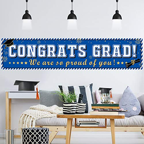 Graduation Banner 2019 Congrats Grad Banner Blue Graduation Decorations Fabric Grad Party Backdrop for 2019 Graduation Party Supplies