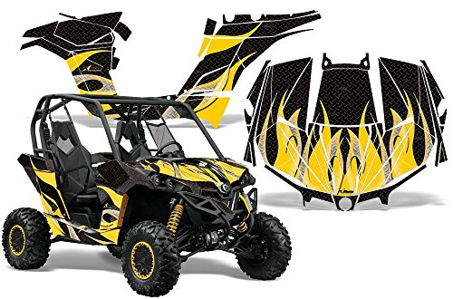 (2013-Current Can-Am Maverick AMRRACING SXS Graphics Decal Kit:Tribal Flame-Yellow-Black)