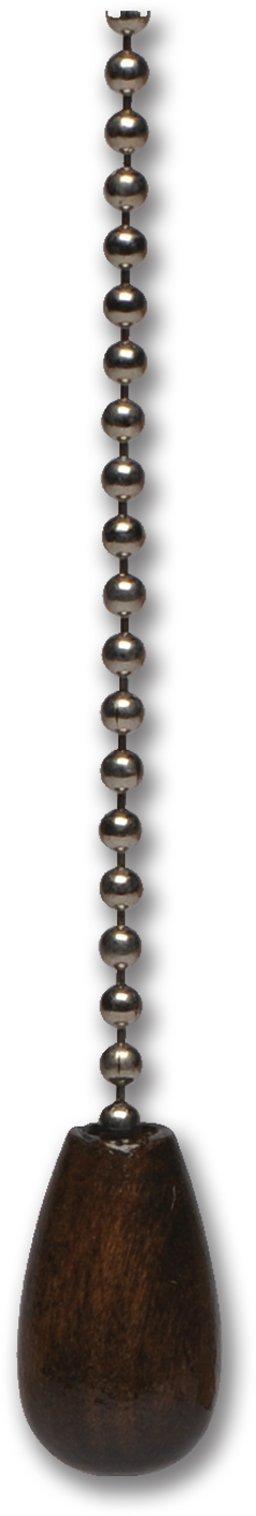12'' Walnut Wood Knob Pull Chain - 4/Pk