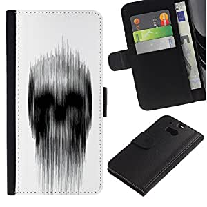 EuroTech - HTC One M8 - Skull White Black Rain Deep Dark Meaning - Cuero PU Delgado caso Billetera cubierta Shell Armor Funda Case Cover Wallet Credit Card