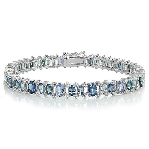 Sterling Silver Tanzanite, London Blue and White Topaz Oval Tennis Bracelet by Ice Gems