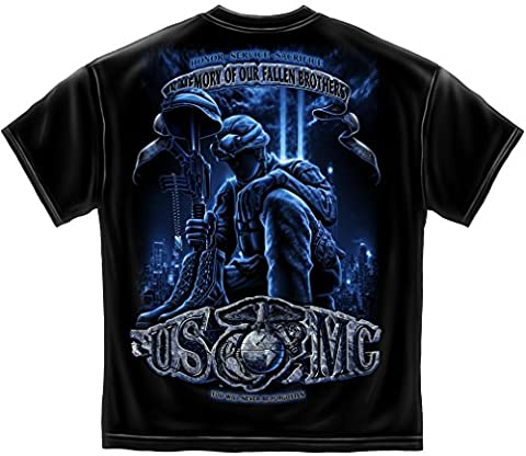 US Marine Corps Short Sleeve Shirts, 100% Cotton Casual Mens Shirts, Show Your Pride With Our Soldiers Cross Momorial Never Forget our Fallen Soldiers Unisex T-Shirts for Men or Women (Fallen Soldiers Cross)