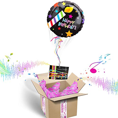 - Balloons in the Box HAPPY BIRTHDAY INFLATED HELIUM BALLOON GIFT PACKAGE | Includes Coordinating Customizable Greeting Card | Floats out of the Box and Plays a Happy Birthday Jingle When Opened, Black