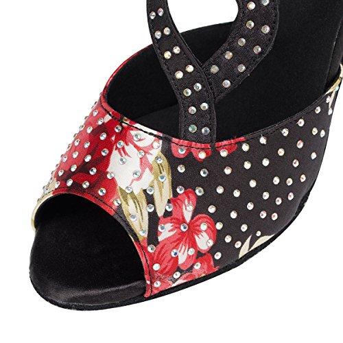 Miyoopark ,  Damen Tanzschuhe Floral Black-8.5cm Heel
