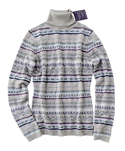 Garnet Hill - Women's - Fair Isles 100% Mongolian Cashmere Turtleneck Sweater (X-Large) (Fair Isle Turtleneck Sweater)