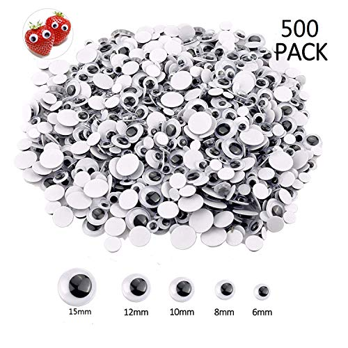 (500 Pieces 6mm -15mm Black Self-Adhesive Googly Wiggle Eyes)