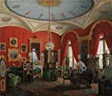 'Hau Edward Petrovich,Interiors Of The Winter Palace,The Study Of Empress Alexandra Fyodorovn 02,1807-1887' Oil Painting, 16x19 Inch / 41x47 Cm ,printed On Perfect Effect Canvas ,this Imitations Art DecorativeCanvas Prints Is Perfectly Suitalbe For Kids Room Artwork And Home Decoration And Gifts