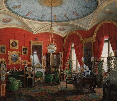 'Hau Edward Petrovich,Interiors Of The Winter Palace,The Study Of Empress Alexandra Fyodorovn 02,1807-1887' Oil Painting, 12x14 Inch / 30x35 Cm ,printed On Perfect Effect Canvas ,this Vivid Art Decorative Canvas Prints Is Perfectly Suitalbe For Bedroom Decoration And Home Gallery Art And Gifts