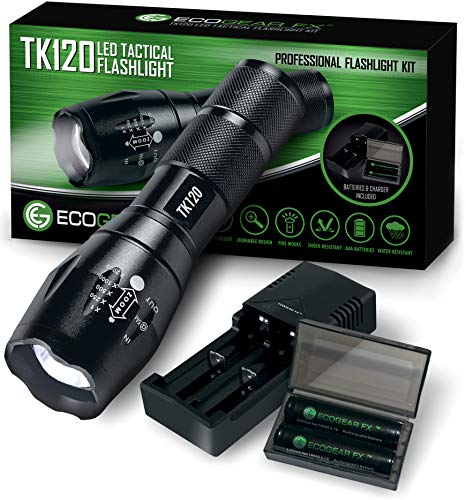 Complete LED Tactical Flashlight Kit - EcoGear FX TK120: Handheld Light with 5 Light Modes, Water Resistant, Zoomable - Includes Rechargeable Batteries and Battery Charger - Perfect Gift for Dad