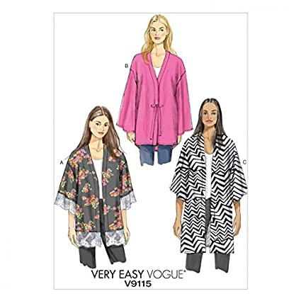 a8fe9df4f98 Vogue Ladies Easy Sewing Pattern 9115 Very Loose Fit Unlined Kimono Jacket   Amazon.co.uk  Kitchen   Home