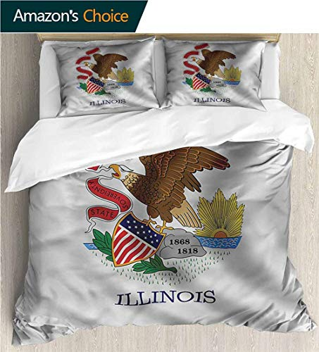 Style 3D Digital Print Bedding Sets,Box Stitched,Soft,Breathable,Hypoallergenic,Fade Resistant 100% Cotton Beding Linens For Kids Children-American Bald Eagle Illinois Flag (104