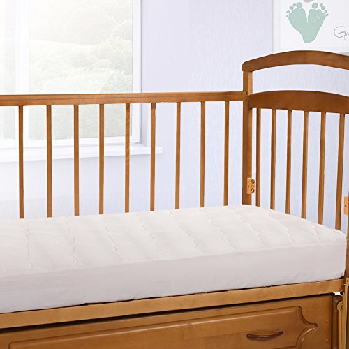 Cardinal Crest Crib Size Mattress Pad With Fitted Skirt Hypoallegenic Rayon From Bamboo Mattress Topper Machine Washable Removable Mattress Cover For Toddlers Made In The Usa 27 5 X 52