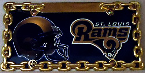 1 , Football Sign of the, SAINT LOUIS RAMS , Metal Sign, Enclosed in a Gold HALF Chain Holder,,27B2.7+17B5.4+3001+