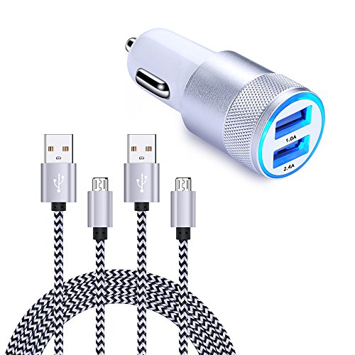 Cell Phone Car Charger, FiveBox Dual USB Mini Universal Car Charger Adapter with 2 Pack 6ft Micro USB Charging Cable Charger Compatible Samsung Galaxy S6 S7 Edge J3 J7 Note 5/4, HTC, LG G4 G3 K30 K20 by FiveBox