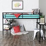 Walker Edison WE Furniture Twin Loft Bed with Desk and Shelves, Black