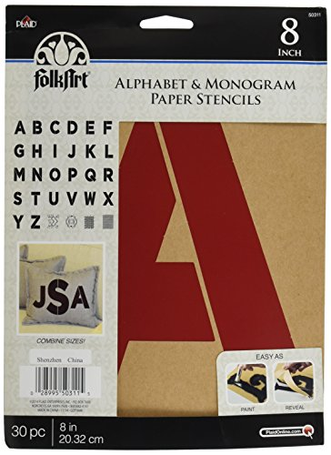 Plaid Stencil Folk-Art Paper Alphabet & Monogram Bold 8
