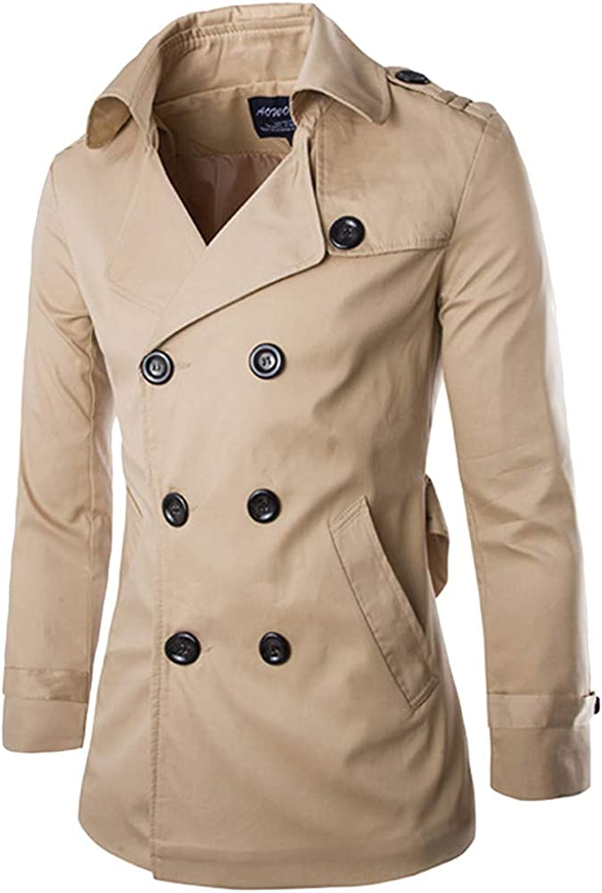 Bolayu Men/'s Long Double-Breasted Jacket Trench Slim Fit Cool Lightweight Solid Fall Winter Warm Casual Coat Jackets