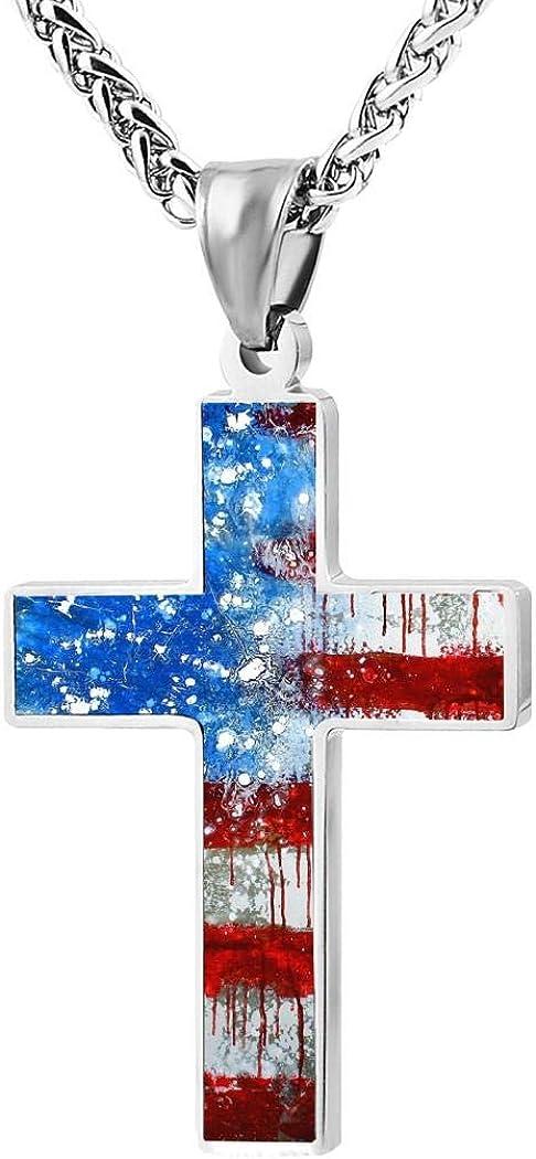 Kakap American Flag Cross Pendant Necklace for Women Men Jewelry Religious Festival Gift
