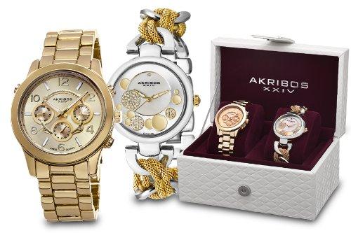 Akribos XXIV Two Tone Watch Set AK676YG