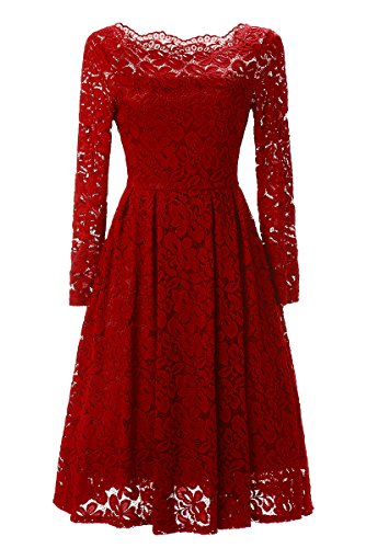 Ankosen Womens Retro 50s Summer Swing Party Dresses Classical Casual Swing Dress Red XL 50s Nylon Lace