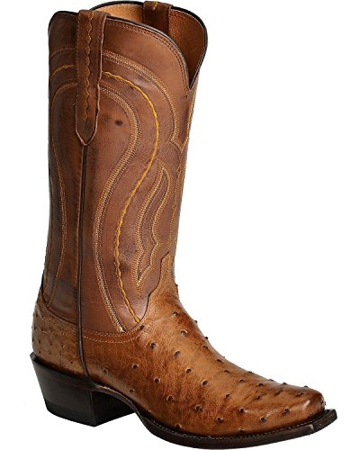 Lucchese Men's Handcrafted 1883 Full Quill Ostrich Western Boot Square Toe Tan Burnish 10 D(M) US