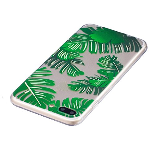 Per iPhone 8 Plus Custodia ,Per iPhone 7 Plus Custodia ,ZXLZKQ Verde foglie di banano Trasparente Morbido TPU Silicone Coperchio Skin Shell Caso Cover Bumper Protezione Case Per iPhone 8 Plus / iPhone