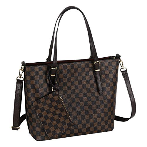 Myst Kath - Checkered Tote Bag for Women with Small Size Pouches Wallet Luxury PU Leather Large Capacity Bag Ladies Handbags